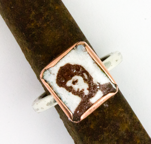Silver and copper ring with Photo Booth face image enameled on the front