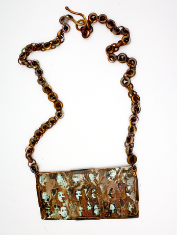 etched and torch fired copper & enamel necklace with handmade copper chain