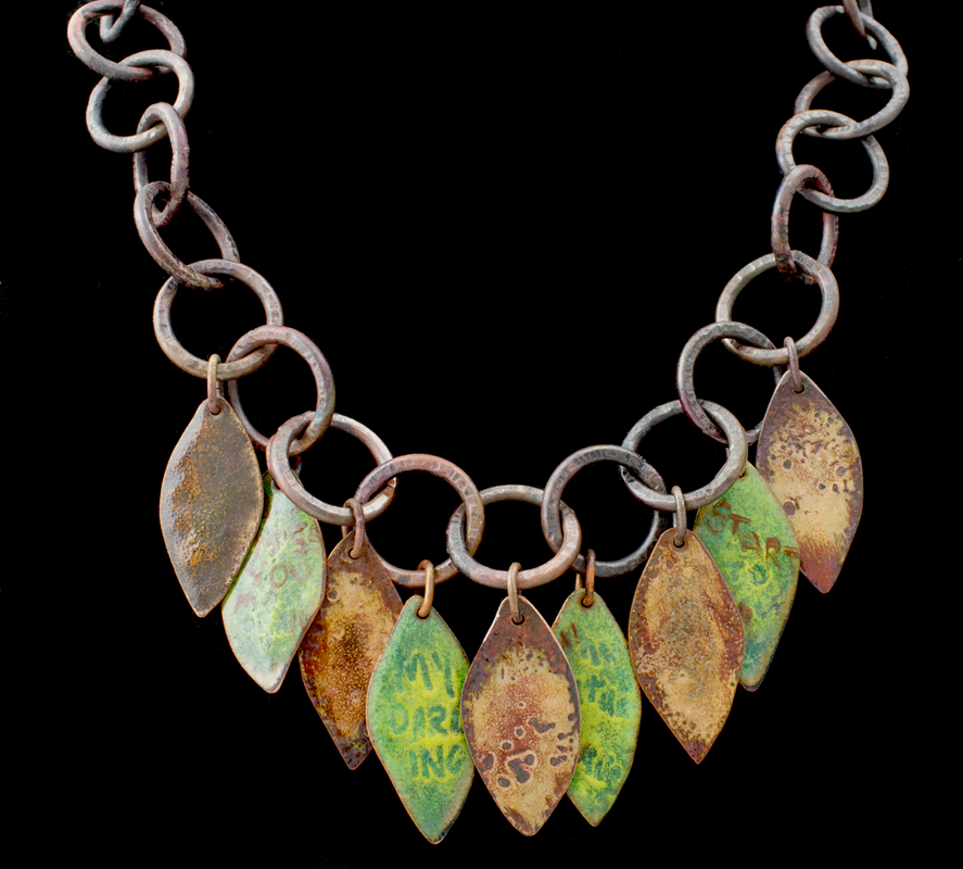 The Autumn Leaves - torch fired enamel leaf necklace