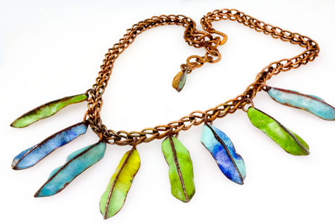 multicolored copper leaf necklace